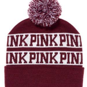 NWT Pink Pom Pom burgundy beanie OSFM